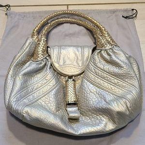Fendi Spy Bag Large Metallic Gold Leather Logo